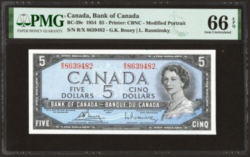 1954 Bank of Canada $5 Banknote, PMG UNC-66 EPQ