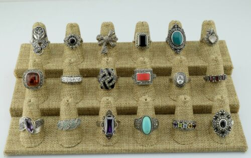 Lot of 18 Sterling Silver Multi Stone & Marcasite Rings Bands Various Sz 6 7 8 9