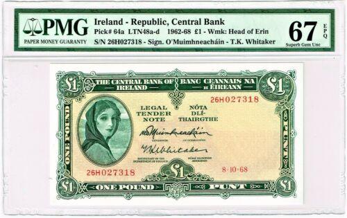 Ireland: 1 Pound 8.10.1968; Pick 64a, PMG Superb Gem Unc 67 EPQ.