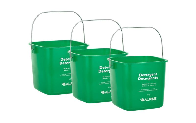 Alpine Industries Green 6 Quart Plastic Cleaning Pail Water Mop Bucket 3 Pack