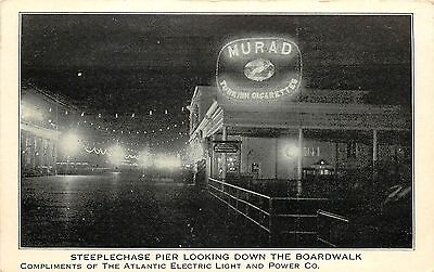 Vintage Postcard Steeplechase Pier Boardwalk Atlantic Electric Light & Power CO
