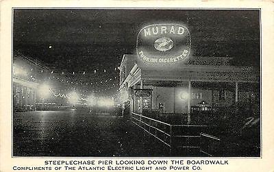 Vintage Postcard Steeplechase Pier Boardwalk Atlantic Electric Light & Power CO
