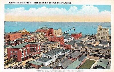 1920's Bird's Eye View  Business District Corpus Christi TX post card