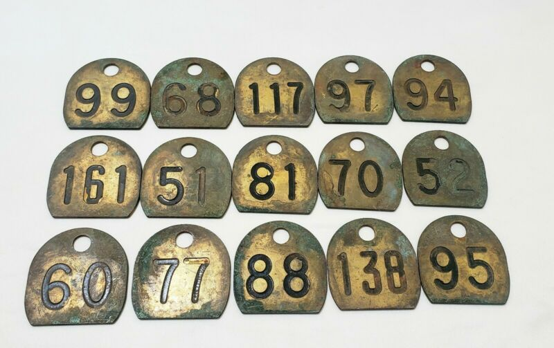 VINTAGE BRASS Cattle tags DOUBLE SIDED great patina 15 piece lot collector item