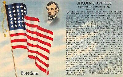 C6668 Flag, Abe Lincoln & Lincoln's Address - Linen PC Tichnor Flag Series No. 6