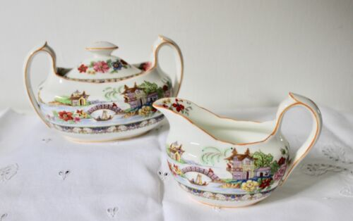 Vintage Royal Paragon Manchu Creamer and Sugar Set