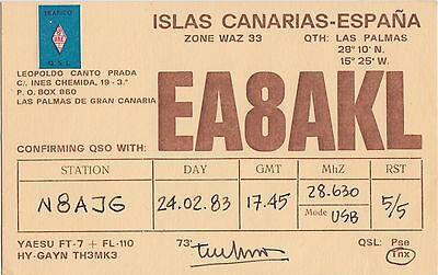 QSL Card Amatuer Radio ISLAS CANARIAS Spain 1983