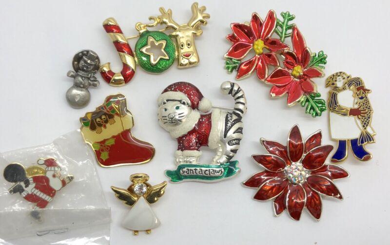 Christmas Holiday Pins Brooches Jewelry Lot: Cat Santa Poinsettia (RF1008-3)