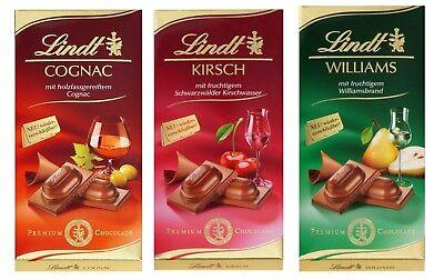 3 x 100g Lindt Chocolate Bar Cognac,Cherry Brandy and Williams pear Brandy NEW -