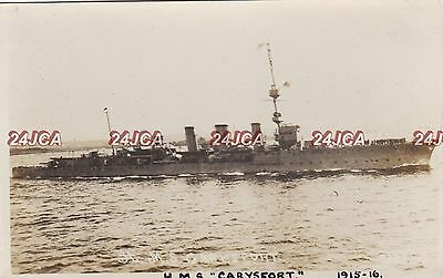 "Royal Navy Real Photo. HMS ""Carysfort"" Light Cruiser. Flagship. North Sea. 1915"