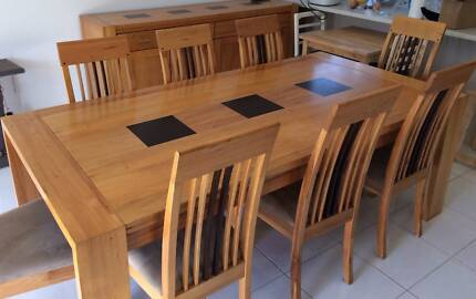 8 seater dining table with matching buffet cabinet