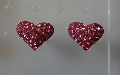 Sterling Silver 10x12mm Small Pink Crystals Puffy Heart Stud Earrings Crystal Studded Puffy Heart