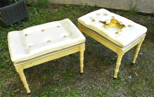 VINTAGE PAIR OF CREME COLOR FAUX BAMBOO FOOTSTOOLS