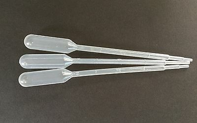 """3 x 1ml SMALL PLASTIC PIPETTES 5.5"""" LONG to DECANT BODY GLUE GRADUATED PIPPETTE"""