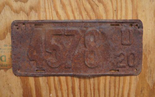 1920 Utah License Plate Low 4 Digit # 4578