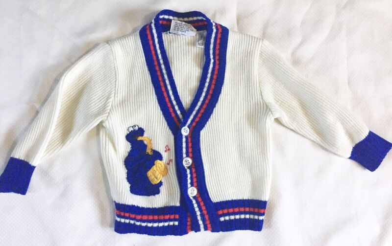 Vintage Toddletime JCPenny Cookie Monster Cardigan Sweater Sz 2T Sesame Street