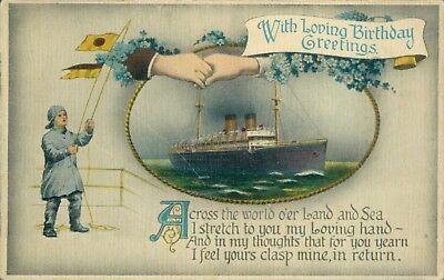 Postcard Shipping birthday Greetings Card Hands Across The Sea.