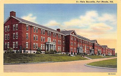Md Fort Meade   Military   Main Barracks   Vintage Unused Linen Postcard