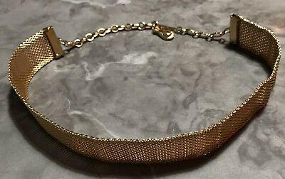"Choker necklace gold tone costume jewelry 3/4"" Cleopatra"
