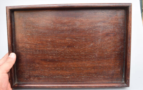 """14"""" Chinese Folk Collection Rosewood Wood handcrafted Pallet Tray Shallow Saucer"""