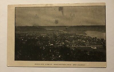 BIRD'S EYE VIEW Manchester OHIO And Islands RPPC Real Photo Postcard
