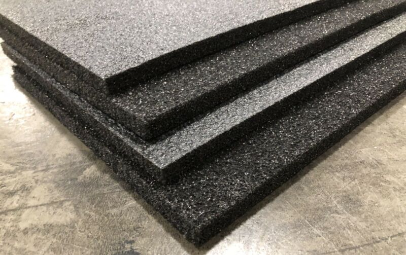 "4 Sheets - 48""X12"" X 1/2"" POLYETHYLENE PLANK FOAM, Density 1.7pcf BLACK"
