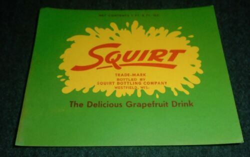 RARE Large Squirt Soda Bottle Label, Westfield Wisconsin