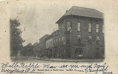 Vintage Postcard Business Blocks On Main Street Scene Clearfield Pa
