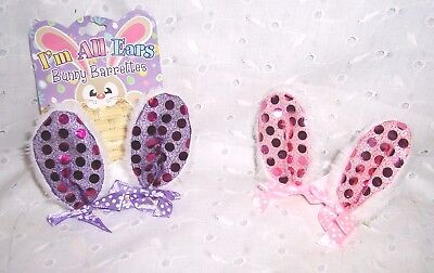 GIRL BUNNY RABBIT EARS BARRETTES CLIP PURPLE OR PINK:DRESS UP - Bunny Ears Costume