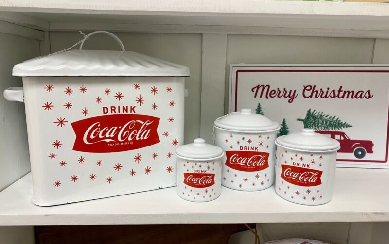Coca Cola Bread Box And Canister Set