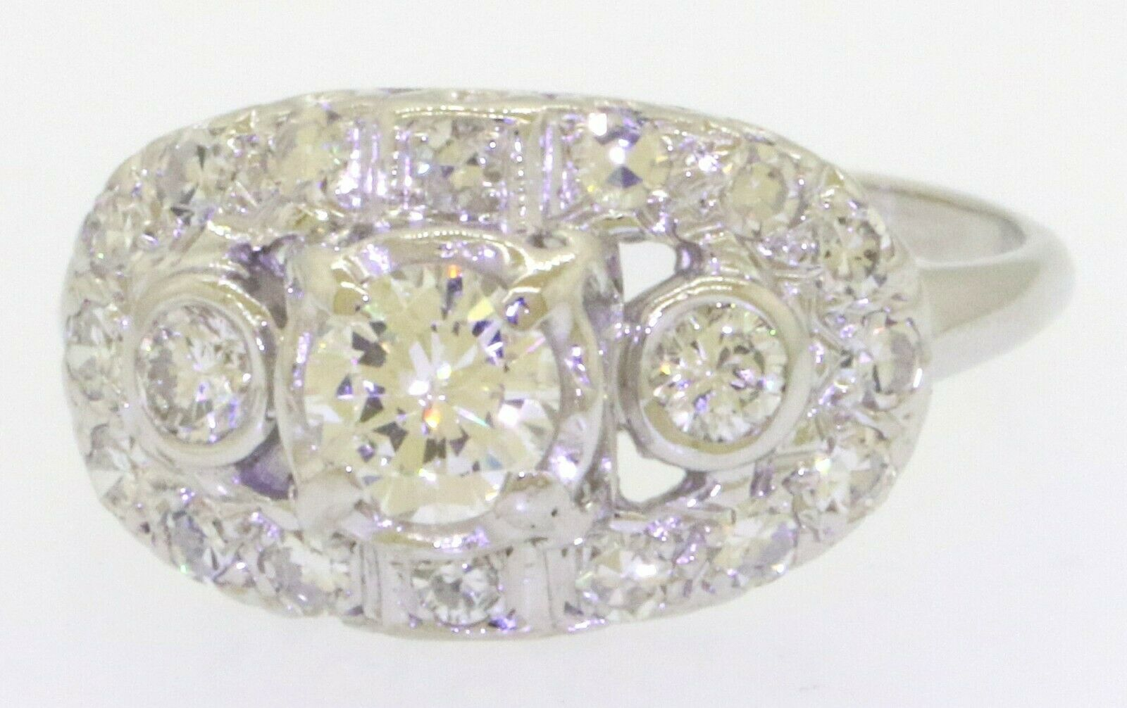 Antique 14K WG 1.16CTW VS diamond wedding/engagement ring w/.50CT ctr. size 7.75