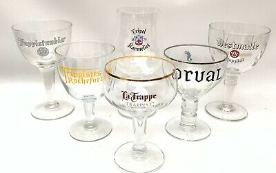 Belgium Trappist Ale Beer Glasses Pints Set/6 Duval Orval Le Trappe Westmalle +