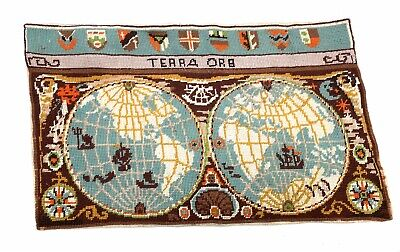 Retro Hand Berlin Embroidered Terra Orb World Map Panel Textile