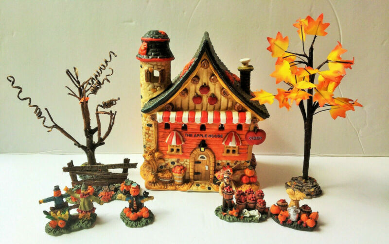 Thanksgiving Autumn Porcelain House with 7 Accessories, Electric but NO CORD