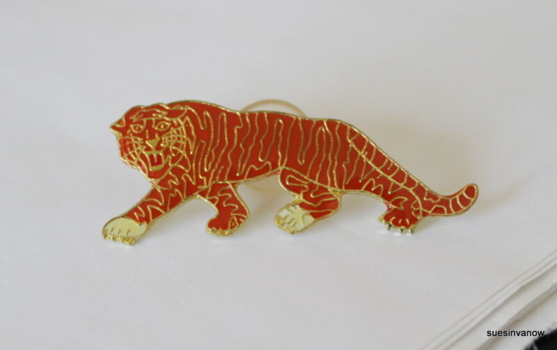 Orange Tiger Lapel Hat Pin  Animal Mammal Cougar Lynx Leopard Tie Tack Clemson