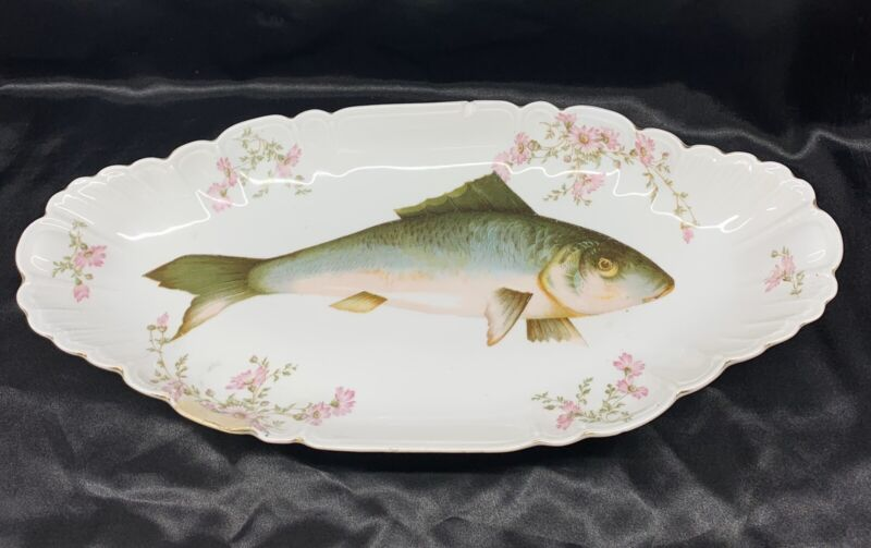 "20"" LS & S Carlsbad Austria Painted Porcelain Floral & Fish Serving Platter SMS"