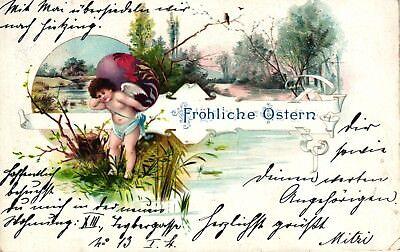 Ostern, Engel, Elfe mit Ei, um 1910