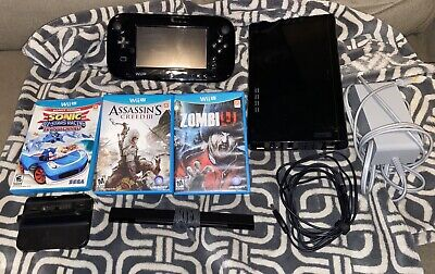 Black Wii U Deluxe System with 3 Games! Tested! Good Condition!