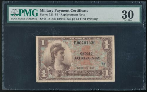 Series 521 MPC Military Payment Certificate *Replacement Note!* PMG 30 Very Fine