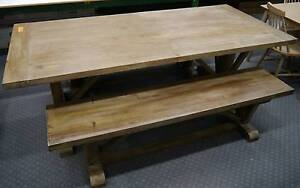New Vintage Provincial Rustic Timber Dining Table Bench Seats Melbourne CBD Melbourne City Preview