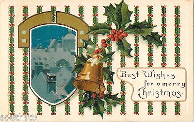 c1910 Best Wishes For A Merry Christmas - Bell and House Scene (Merry Christmas And Best Wishes)