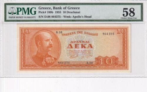 GREECE 1955 10 DRX # 189b PMG-58
