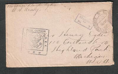 1918 Wwi Aef Censor Cover   Letter Wagoner Blayde Ogden Co F 16Th Eng Ry To Mi