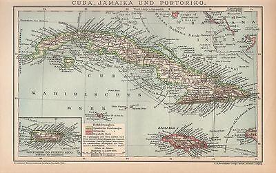 CUBA Jamaika Puerto Rico Karibik historische  LANDKARTE 1897 Besitzungen Haiti ()