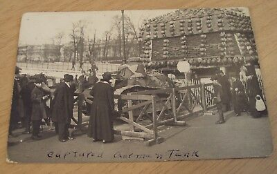"1917-19 RPPC Postcard~""CAPTURED GERMAN TANK/Helmet 'ART'""~France WWI~"