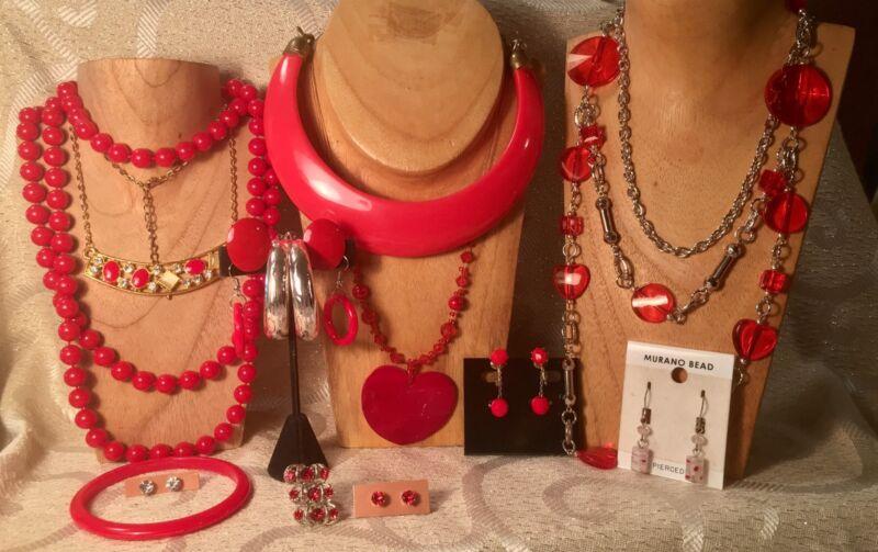 HOLIDAY RED Jewelry Lot*Deco/Boho *Choker Necklaces*Bracelets*Earrings a80