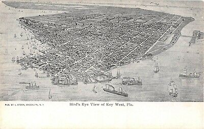 c.1905 Aerial Bird's Eye View Key West FL post card Florida