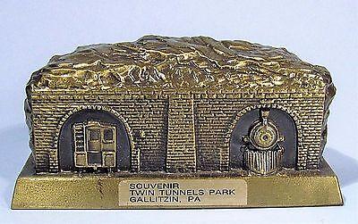 TWIN TUNNELS PARK GALLITZIN PA VINTAGE SOUVENIR METAL BUILDING BANK BANTHRICO