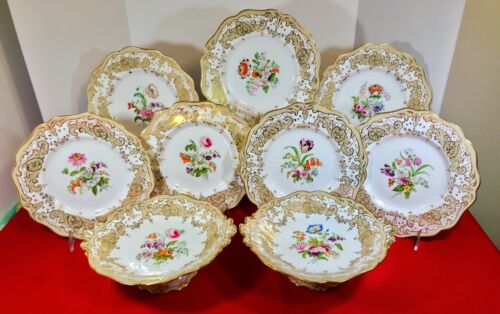 Antique Minton Gilt Hand Painted Botanical Dessert Set - 7 Plates, 2 Compotes