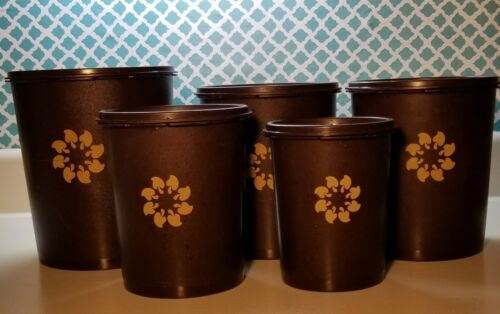 Vintage Tupperware Brown Canister Set of 5 with Lids